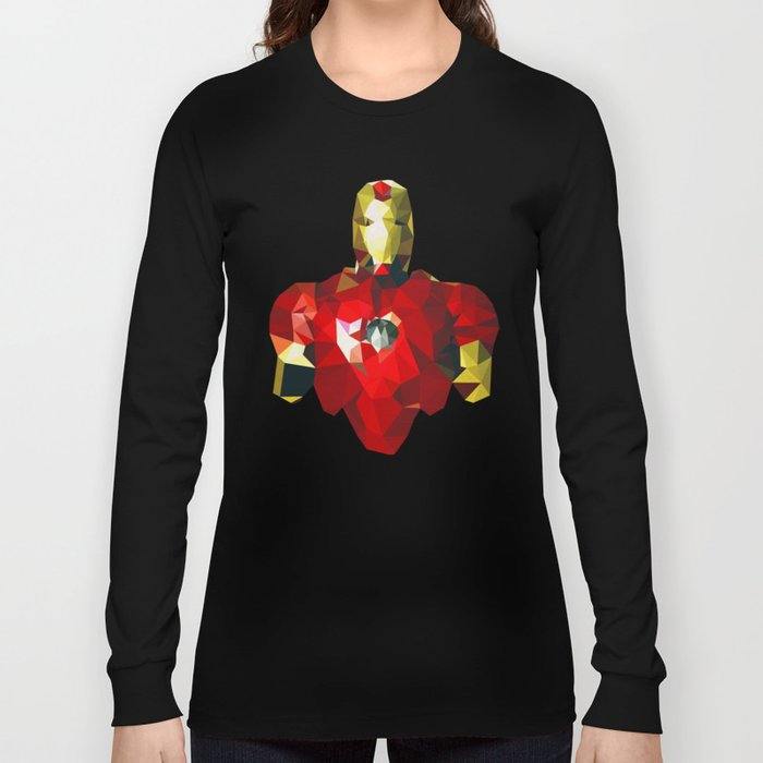 d89db6d6d Polygon Heroes - Iron Man Long Sleeve T-shirt by theblackeningco ...