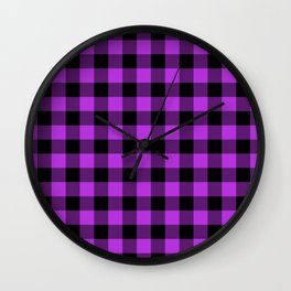 Buffalo Plaid Bright Fuchsia and Black Pattern Minimal Graphic Design Wall Clock