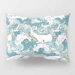 Whales and waves pattern Pillow Sham