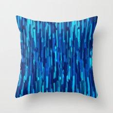 vertical brush blue version Throw Pillow