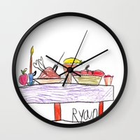 thanksgiving Wall Clocks featuring Thanksgiving Feast by Ryan van Gogh