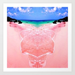 Elafonissi Chania Pink and Turquoise Sea Art Print