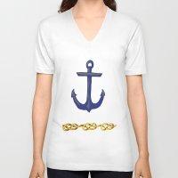 nautical V-neck T-shirts featuring Nautical by DesignSam