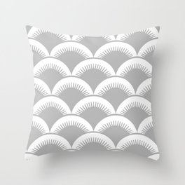 Japanese Fan Pattern Gray Throw Pillow