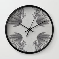 mother of dragons Wall Clocks featuring Dragons by Dan Minnis