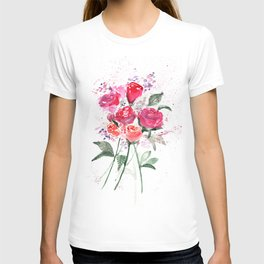 Abstract Watercolor Red Roses T-shirt