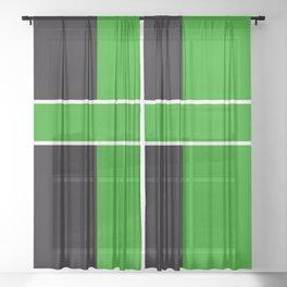 Team Color 6...Green,black Sheer Curtain