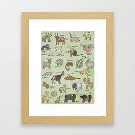 The Obscure Animal Alphabet Framed Art Print