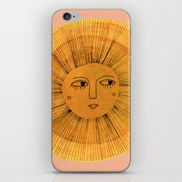 Sun Drawing Gold and Pink iPhone Skin