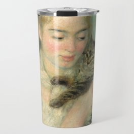 Woman with a Cat Oil Painting by Auguste Renoir Travel Mug