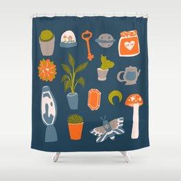 Minimalist Teenage Bedroom Blue Flash Sheet Shower Curtain