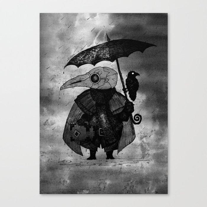 Plague Doctor in the Rain Leinwanddruck