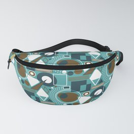 Abstract Geometric Shapes - Teal, Navy, Brown, White Fanny Pack