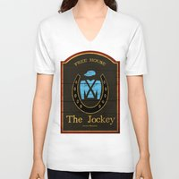 shameless V-neck T-shirts featuring The Jockey - Shameless by Jim T