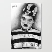 chaplin Canvas Prints featuring Chaplin by D.E.Pérez