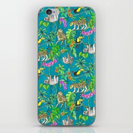 Rainforest Friends - watercolor animals on textured teal iPhone Skin