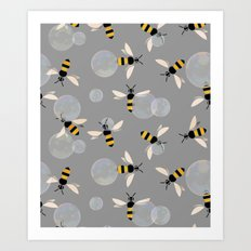 Bubble Bees Art Print