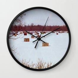 Ice Fishing Village Wall Clock