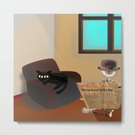 Monsieur Bone and the cat in the room Metal Print