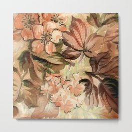 Peachy Floral Abstract Metal Print