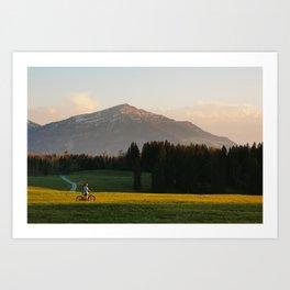 Sunset Bikeride Art Print