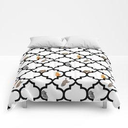 Cats on a Lattice - White Comforters