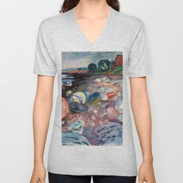 Edvard Munch - Shore with Red House Unisex V-Neck