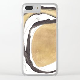 Gold and Black Abstract Clear iPhone Case
