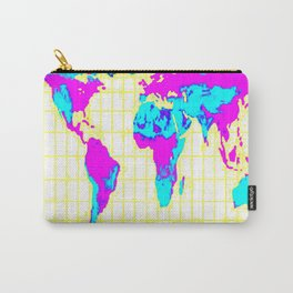 World Map: Gall Peters Colorful Carry-All Pouch
