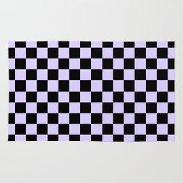 Black and Pale Lavender Violet Checkerboard Rug