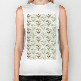 Abstract geometrical brown lime green ethno diamonds pattern Biker Tank