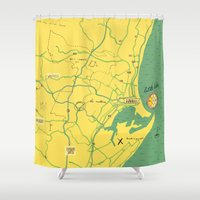 maps Shower Curtains featuring Maps - Durban by DRIEHOEK