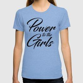 Power to the Girls | black cursive v. T-shirt