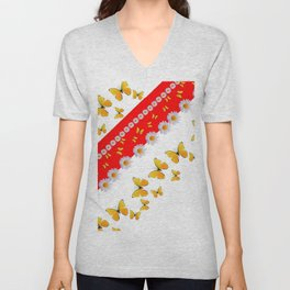RED MODERN ART YELLOW BUTTERFLIES & WHITE DAISIES Unisex V-Neck