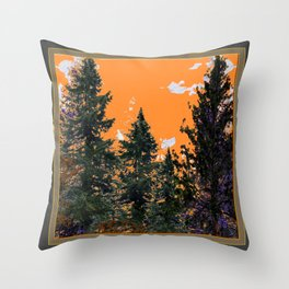 CHARCOAL GREY WESTERN PINE TREES  LANDSCAPE Throw Pillow