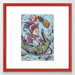 Croc Hunters Framed Art Print