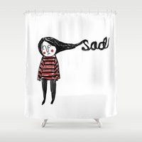 sad Shower Curtains featuring Sad by Tuesday Alissia