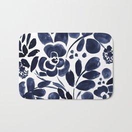 Navy Floral Bath Mat