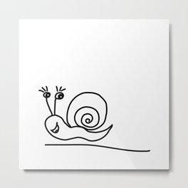 Funny Little Snail Metal Print