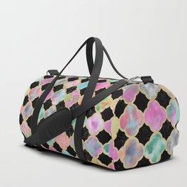 Colorful black watercolor faux gold glitter quatrefoil Duffle Bag