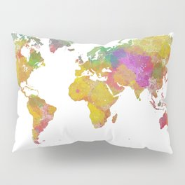 Map of the World - Watercolor 5 Pillow Sham