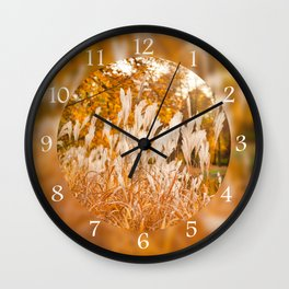 Detail of Miscanthus ornamental grass Wall Clock