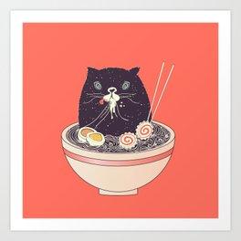 Bowl of ramen and black cat Kunstdrucke
