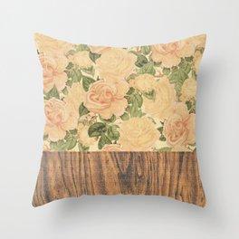 Wood & Floral I Throw Pillow
