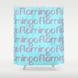 flamingo flamingo flamingo // pink + blue Shower Curtain