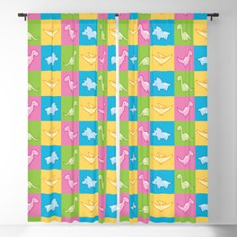Colorful dinosaurs and pterodactyl cheater quilt Blackout Curtain