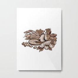 Paleo Diet Etching Metal Print