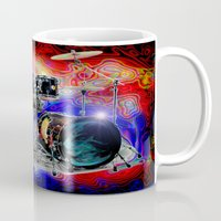 drums Mugs featuring Psychedelic Drums by JT Digital Art