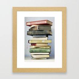 Stacked Vintage Books Framed Art Print