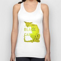 duvet cover Tank Tops featuring BLACK CAT DUVET COVER by aztosaha